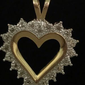 Jewelry - Diamond 14k Yellow Gold Heart Pendant Necklace